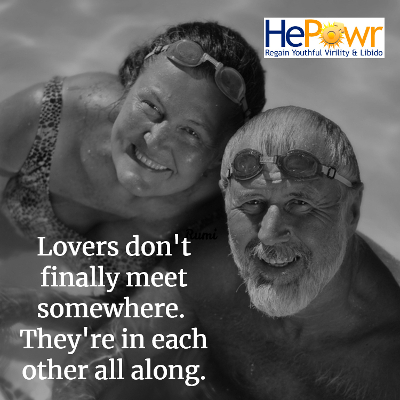 Loving Elderly Couple in Swimming Pool